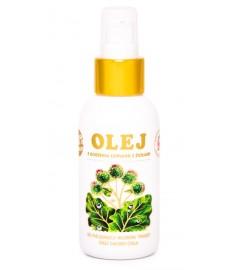 Olej z korzenia łopianu 100 ml z ziołami: UCZEPU TRÓJLISTKOWEGO, POKRZYWY, OMANU,  PODBIAŁU I SKRZYPU POLNEGO