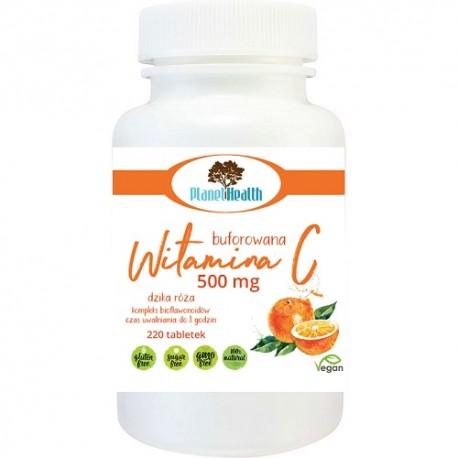 Buforowana Witamina C 500 mg z dziką różą i cytrusowymi bioflawonoidami 220 tabletek Planet Health