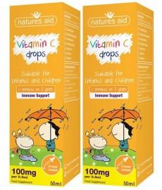 Witamina C w kroplach dla dzieci i niemowląt 50 ml ( 0,5 ml / 100 mg)  Nature's Aid