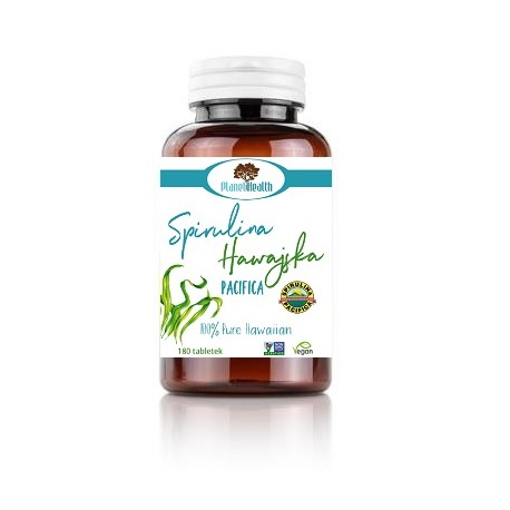 Spirulina Hawajska 180 tabletek po 500 mg - 100% Pure Hawaiian Spirulina (Arthorspira platensis) Planet Health