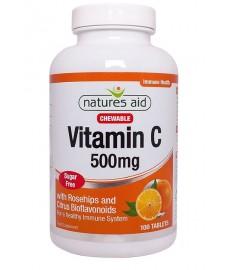 Witamina C 500 mg z dziką różą i cytrusowymi bioflawonoidami do ssania (100 tabletek) Nature's Aid